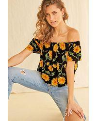 Forever 21 Sunflower Off-the-shoulder Top - Black