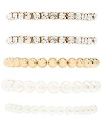 Forever 21 Women's Faux Pearl & Rhinestone Bracelet Set - Metallic