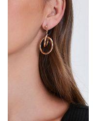 Forever 21 Interlinked Drop-hoop Earrings - Metallic