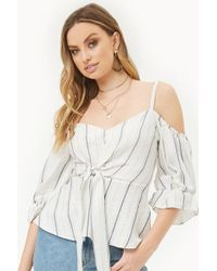 cb68cf87465438 Forever 21 - Striped Flounce Open-shoulder Top - Lyst