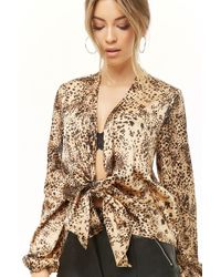 1c6d5162e0341c Lyst - Michael Michael Kors Cheetah Long Sleeve Cold Shoulder in Brown