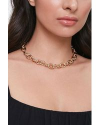 Forever 21 Chunky Rolo Chain Necklace - Metallic