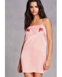 Forever 21 | Embroidered Satin Slip Dress | Lyst