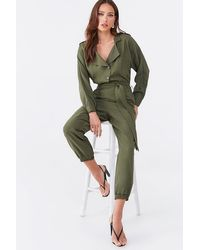 Forever 21 Button-down Dolman Jogger Jumpsuit - Green