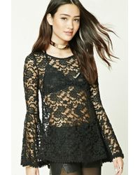 Forever 21 - Scalloped Sheer Lace Top , Black - Lyst