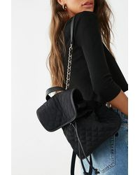 Forever 21 Quilted Drawstring Backpack - Black