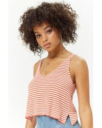 Forever 21 - Striped Ribbed Knit Tank Top - Lyst