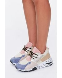 Forever 21 Colorblock Faux Suede Sneakers In Gold, Size 6 - Metallic