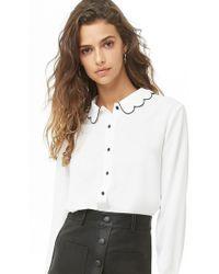Forever 21 - Scalloped Collar Chiffon Shirt - Lyst