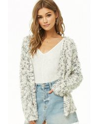 Forever 21 - Woven Heart Fuzzy Cardigan - Lyst d8a42c183