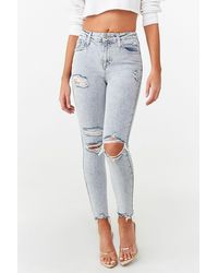Forever 21 Distressed Skinny Jeans - Blue