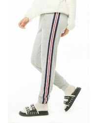 Forever 21 Striped French Terry Sweatpants , Heather Grey/multi - Gray