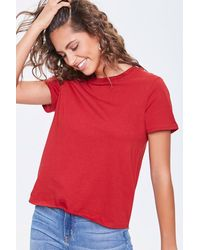 Forever 21 Basic Organic Cotton Crew Tee - Red