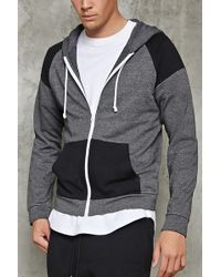 Forever 21 - Contrast-panel Zippered Hoodie - Lyst