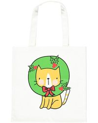 Forever 21 Wreath Cat Tote Bag , White/multi - Green