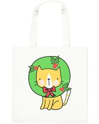 Forever 21 Wreath Cat Tote Bag - Green