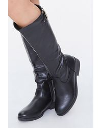 Forever 21 Buckled Knee-high Boots - Black