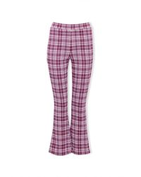 Forever 21 Plaid Flare Pants - Red