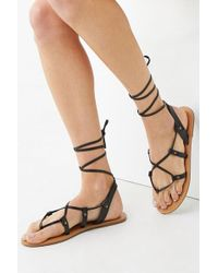 Forever 21 - Faux Leather Wraparound Sandals , Black - Lyst