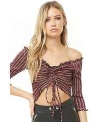 Forever 21 - Metallic Striped Crop Top - Lyst