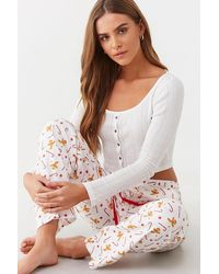 Forever 21 Candy Cane & Peppermint Pyjama Pants , White/multi