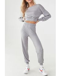 Forever 21 Marled Knit Top & Sweatpants Set , Heather Grey - Gray