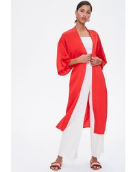Forever 21 Belted Longline Kimono - Red