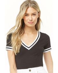 c1c6d1d67263b Forever 21 - Women s Ribbed Varsity-striped Top - Lyst