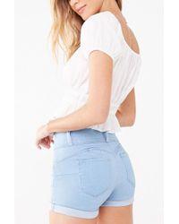 Forever 21 - Cuffed Push-up Denim Shorts , Light Denim - Lyst