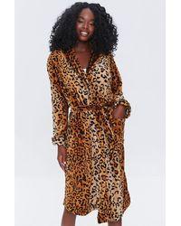 Forever 21 Leopard Print Tie-waist Robe - Brown