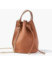 Forever 21 Faux Leather Bucket Bag In Brown