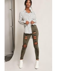 Forever 21 - Distressed High-rise Skinny Jeans - Lyst