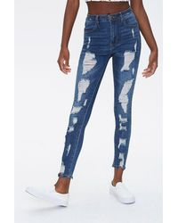 Forever 21 Distressed High-rise Jeans - Blue