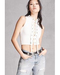 Forever 21 - Lace-up Grommet Crop Top - Lyst