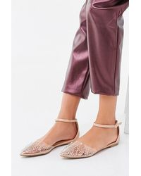 Forever 21 Studded Pointed Toe Flats - Purple