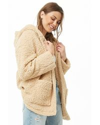 Forever 21 Hooded Faux Shearling Open-front Jacket , Taupe - Multicolor