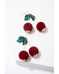 Forever 21 Cherry Drop Earrings - Red