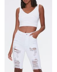 Forever 21 Distressed Bermuda Shorts - White