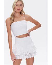 Forever 21 Smocked Flounce Mini Skirt - White