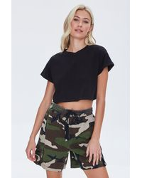 Forever 21 Camo Cotton Twill Cargo Shorts - Green