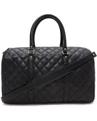 Forever 21 Quilted Faux Leather Travel Bag - Black