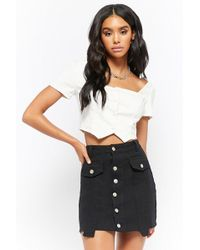dfa63357ba Forever 21 - Denim Button-front Step-hem Mini Skirt - Lyst