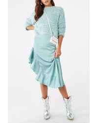 Forever 21 Satin Ruffled High-low Skirt - Blue