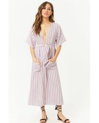 Forever 21 - Striped Button-front Midi Dress - Lyst