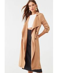 Forever 21 Draped-front Trench Coat - Natural