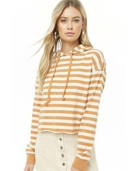 Forever 21 Women's Striped Hooded Top - Natural