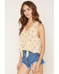 Forever 21 - Floral Print Tie-neck Top - Lyst