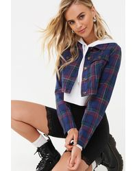 Forever 21 Cropped Plaid Jacket , Navy/multi - Blue