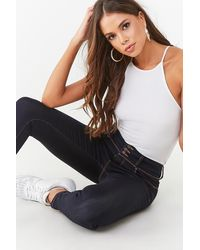 Forever 21 Push-up Low-rise Skinny Jeans - Blue