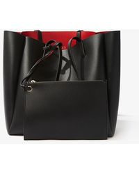 Forever 21 Faux Leather Tote Bag , Black/red